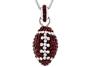 Preciosa Crystal Maroon And White Football Necklace