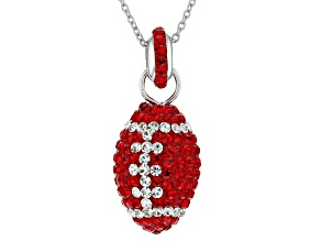Preciosa Crystal Red And White Football Necklace