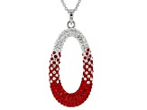 Preciosa Crystal Red And White Oval Necklace