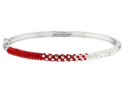 Preciosa Crystal Red And White Crystal Thin Bangle Bracelet
