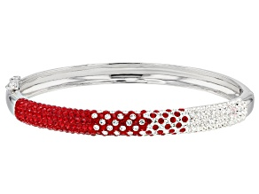 Preciosa Crystal Red And White Bangle Bracelet