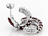Preciosa Crystal Maroon And White Hoop Earrings