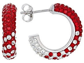 Preciosa Crystal Red And White Hoop Earrings