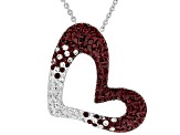 Preciosa Crystal Maroon And White Heart Necklace