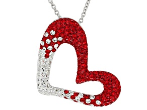 Preciosa Crystal Red And White Heart Necklace