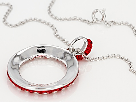 Preciosa Crystal Red And White Crystal Circle Necklace