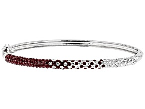 Preciosa Crystal Maroon And White Thin Bangle Bracelet