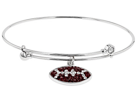 Preciosa Crystal Maroon And White Football Charm Bangle Bracelet