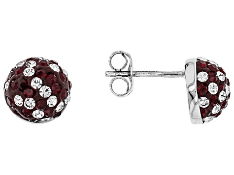 Preciosa Crystal Maroon And White Stud Earrings