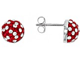 Preciosa Crystal Red And White Stud Earrings