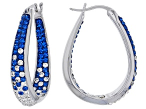 Preciosa Crystal Blue And White Horseshoe Hoop Earrings