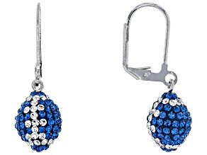 Preciosa Crystal Blue And White Football Dangle Earrings