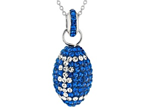 Preciosa Crystal Blue And White Football Pendant With Chain