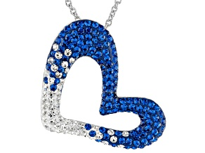 Preciosa Crystal Blue And White Heart Pendant With Chain