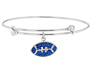 Preciosa Crystal Blue And White Football Charm Bangle Bracelet