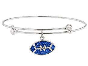 Preciosa Crystal Blue And White Football Charm Bangle Bracelet
