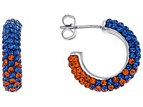 Preciosa Crystal Blue And Orange Hoop Earrings