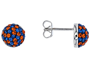 Preciosa Crystal Blue And Orange Stud Earrings