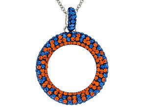 Preciosa Crystal Blue And Orange Circle Pendant With Chain