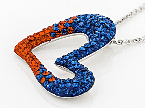 Preciosa Crystal Blue And Orange Heart Pendant With Chain