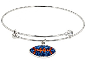 Preciosa Crystal  Blue And Orange Football Charm Bracelet