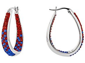 Preciosa Crystal Red And Blue Horseshoe Hoop Earrings