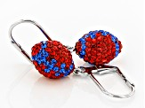 Preciosa Crystal Red And Blue Football Dangle Earrings