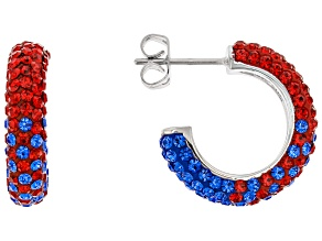 Preciosa Crystal Red And Blue Hoop Earrings