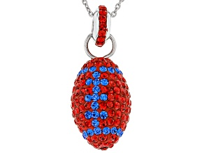Preciosa Crystal Red And Blue Football Pendant With Chain
