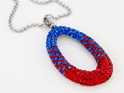 Preciosa Crystal Red And Blue Oval Pendant With Chain