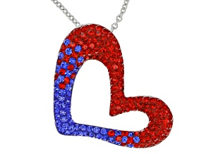 Preciosa Crystal Red And Blue Heart Pendant With Chain