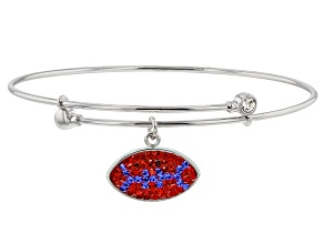 Preciosa Crystal Red And Blue Football Charm Bangle Bracelet