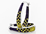 Preciosa Crystal Purple And Gold Horseshoe Hoop Earrings
