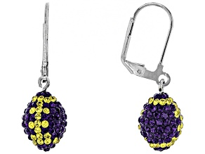 Preciosa Crystal Purple And Gold Football Dangle Earrings