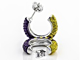 Preciosa Crystal Purple And Gold Hoop Earrings