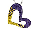 Preciosa Crystal Purple And Gold Heart Pendant With Chain