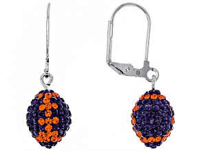 Preciosa Crystal Orange And Purple Football Dangle Earrings