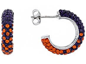 Preciosa Crystal Orange And Purple Hoop Earrings
