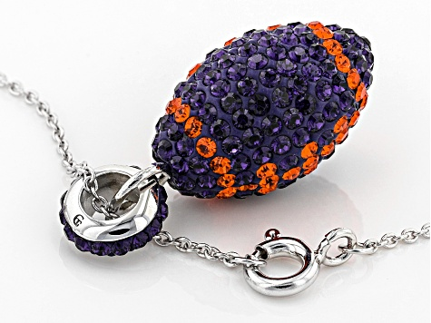 Preciosa Crystal Orange And Purple Football Pendant With Chain