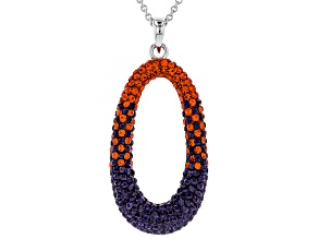 Preciosa Crystal Orange And Purple Oval Pendant With Chain