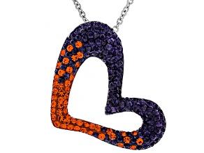 Preciosa Crystal Orange And Purple Heart Pendant With Chain