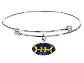 Preciosa Crystal Purple And Yellow Football Charm Bangle Bracelet