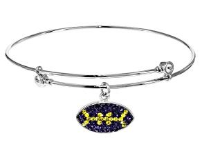Preciosa Crystal Purple And Yellow Football Charm Bangle Bracelet