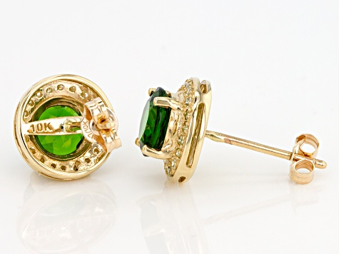 Green Chrome Diopside 10k Yellow Gold Earrings 1.58ctw