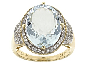 Aquamarine 14k Yellow Gold Ring 6.86ctw
