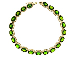 Green Chrome Diopside 10k Yellow Gold Line Bracelet 7.25 inches 16.28ctw