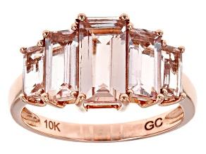 Pink Morganite 10k Rose Gold 5-Stone Ring 3.50ctw