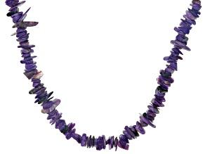 Purple charoite sterling silver necklace