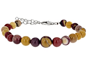 Multi-color mookaite sterling silver bracelet