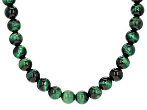 Green tiger's eye bead sterling silver necklace